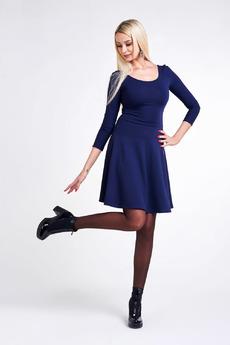 Темно-синее платье с рукавами Paola Rossi